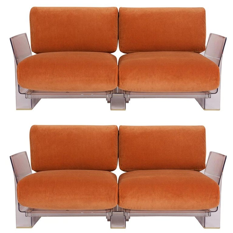 Pair of Lucite Loveseats or Sofas by Piero Lissoni for Kartell For Sale