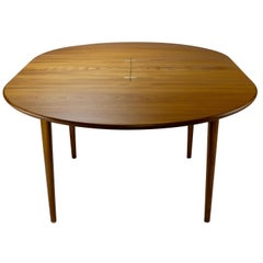 Danish Modern Teak Round Dining Table with Butterfly Leaf