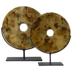 Sand, Brown, Black Color Set of Two-Stone Discs, China, Contemporary
