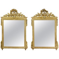 Pair of Louis XVI Giltwood and Painted Mirrors