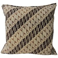 Vintage Brown and Black Batik Decorative Square Pillow