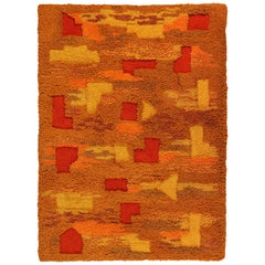 Orange and Yellow Op Pop Mod Woven Tapestry or Rug