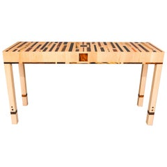 Expressionistic Geometric Inlaid Maple and Exotic Wood Console Table