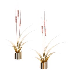 Pair of Midcentury Cattail Wall Sculptures