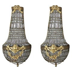 Oversized French Louis XIV Style Bronze and Draped Crystal Wall Sconces