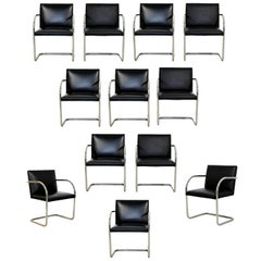 Mid-Century Modern Brno Knoll Set of 12 Chrome Black Leather Dining Armchairs
