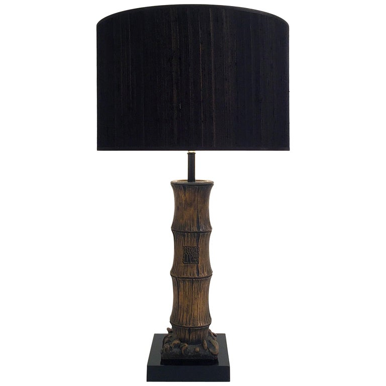 Wood Carved Chinese Style Faux Bamboo Table Lamp For Sale At 1stdibs