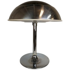 Large Circa Chromed Aluminum And Cast Iron Table Lamp By Lumenform