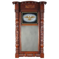 American Empire Carved Mahogany and Églomisé Eagle Trumeau Wall Mirror