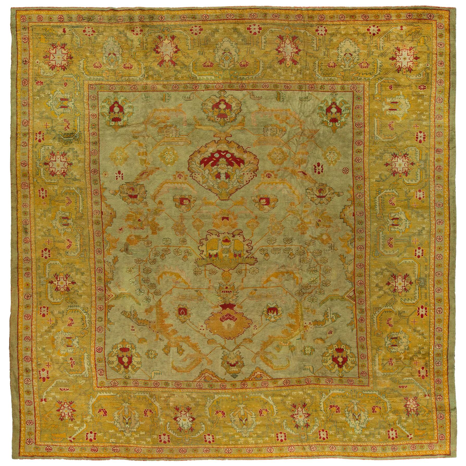 Antique Turkish Square Oushak Rug