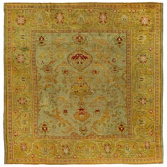 Antique Turkish Square Oushak Rug