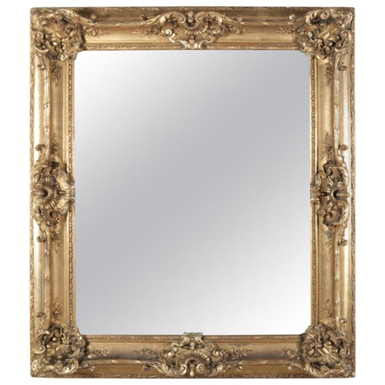 Large Antique French Louis XIV Style Carved Giltwood Wall Mirror, 19th Century For Sale