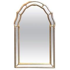 Italian Mid-Century Modern Silver and Gold Leaf Mirror