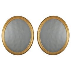 Vintage Pair of Oval Beaded Giltwood Wall Mirrors, 20th Century