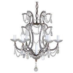 Italian Crystal Beaded Rock Crystal Chandelier