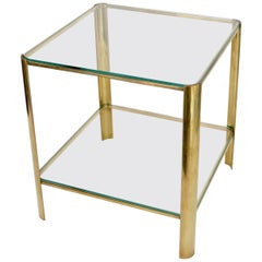 Jacques Quinet French Bronze and Glass Side Table for Maison Malabert