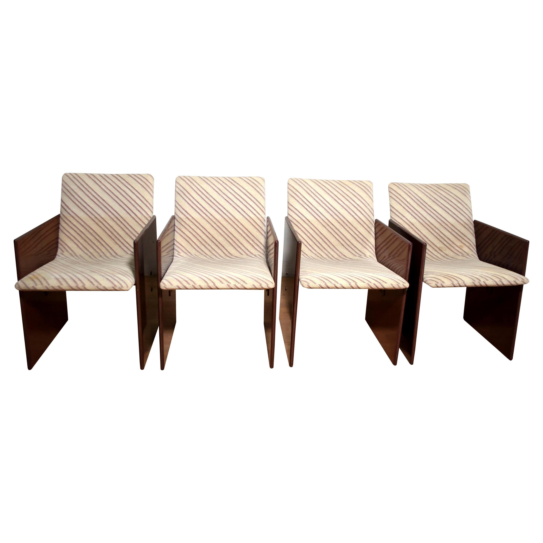 Giovanni Offredi Italian Dining Chairs Missoni Fabric by Saporiti, 1970s