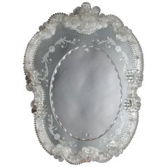 Italian Venetian Foliate Etched and Floral Vanity or Wall Mirror, 20th Century