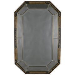 Chinoiserie Ebonized and Gilt Decorated Parclose Wall Mirror, 20th Century