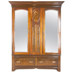 Antique Walnut Armoire, Three-Door Armoire, Vintage Wardrobe, Scotland, 1895