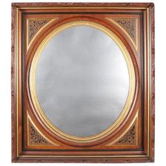 Antique Carved, Ebonized and Gilt Deep Walnut Portrait Wall Mirror, circa 1890