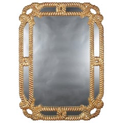 Large Vintage Carved Giltwood Rope Twist Overmantel Mirror, 20th Century