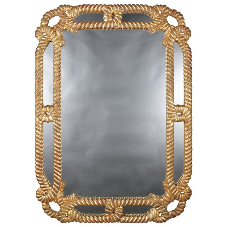 Large Vintage Carved Giltwood Rope Twist Overmantel Mirror, 20th Century For Sale