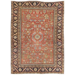 Antique Persian All-Over Serapi Rug with All-Over Geometric Design