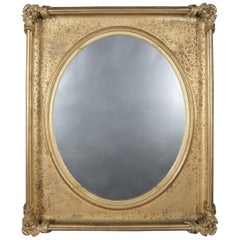 Oversized Antique Modeled Giltwood Portrait Framed Wall Mirror, circa 1880
