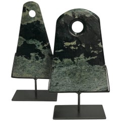 Green Set of Two Triangle Shaped Stone Disc Sculptures, China, Contemporary