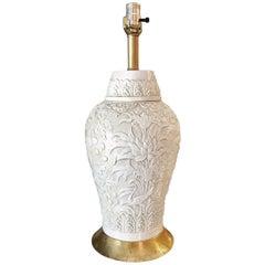 Vintage Porcelain and Gold Leaf Table Lamp