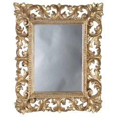 Italian Rococo Style Reticulated Foliate Giltwood Wall Mirror, 20th Century