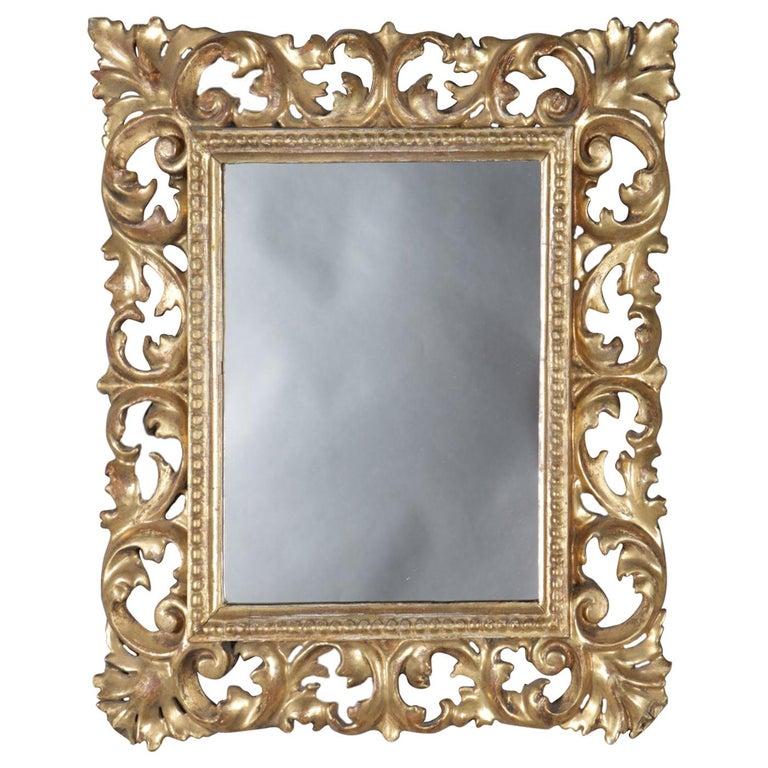 Italian Rococo Style Reticulated Foliate Giltwood Wall Mirror, 20th Century For Sale