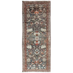 Red and Charcoal Antique Persian Hamedan Runner with All-Over Floral Design