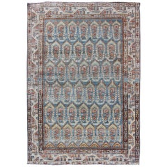 All-Over Paisley Pattern Antique Persian Malayer Rug in Blue and Red