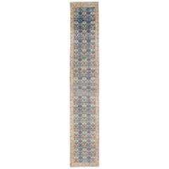 Long Antique Persian Malayer Runner with Repeating Design in Blue, Red, Nude