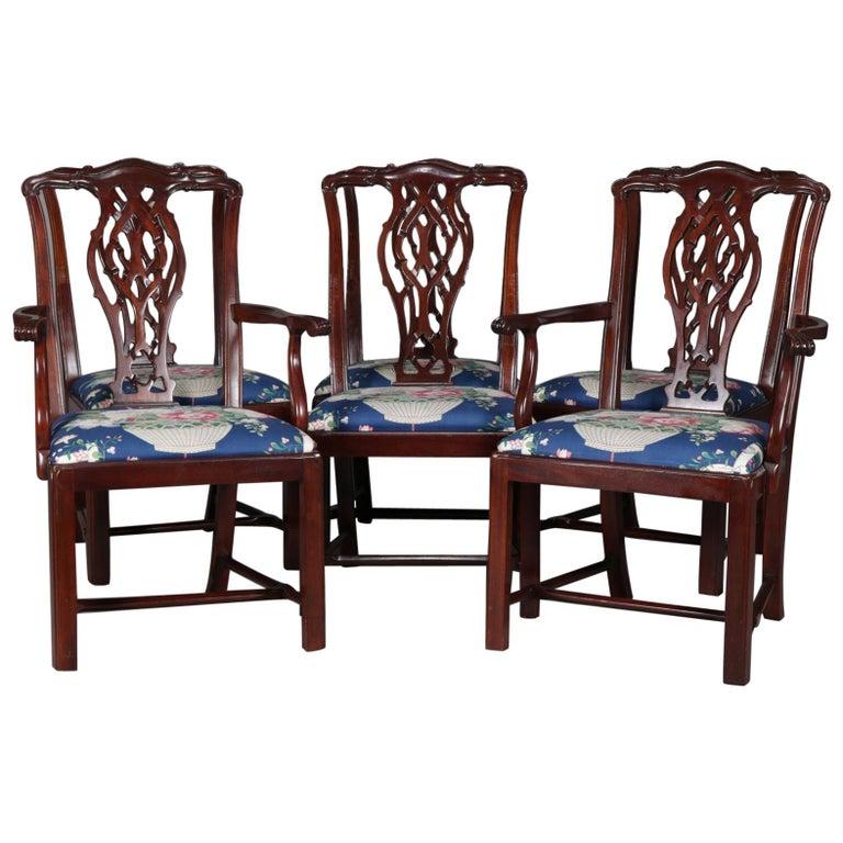 Astonishing Set Of 6 Chippendale School Carved Mahogany Ribbon Back Short Links Chair Design For Home Short Linksinfo