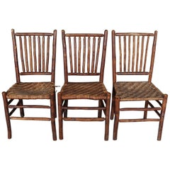 Antique Hand Carved Old Hickory Adirondack Branch & Rush Side Chairs, circa 1900