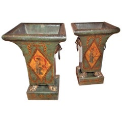 Pair of Italian Directoire Style Antique Tôle Peinte Urns or Pots