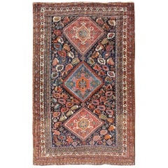 Colorful Tri-Medallion Antique Persian Qashqai Rug with Detailed Tribal Design