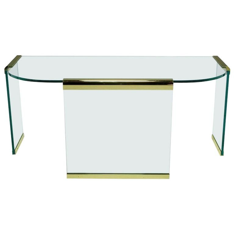 Mid-20th Century Glass and Brass Table by Design Institute America For Sale