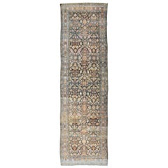 Colorful Antique Persian Hamedan Runner with All-Over Floral Design