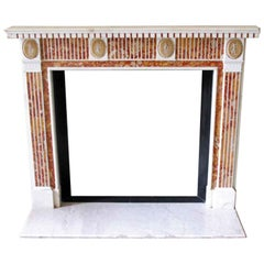NYC Waldorf Astoria Hotel Marble Mantel with Red and Yellow Inlay from the 1800s