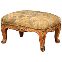 19th Century French Louis XV Carved Gilt Walnut Footstool with Aubusson Tapestry