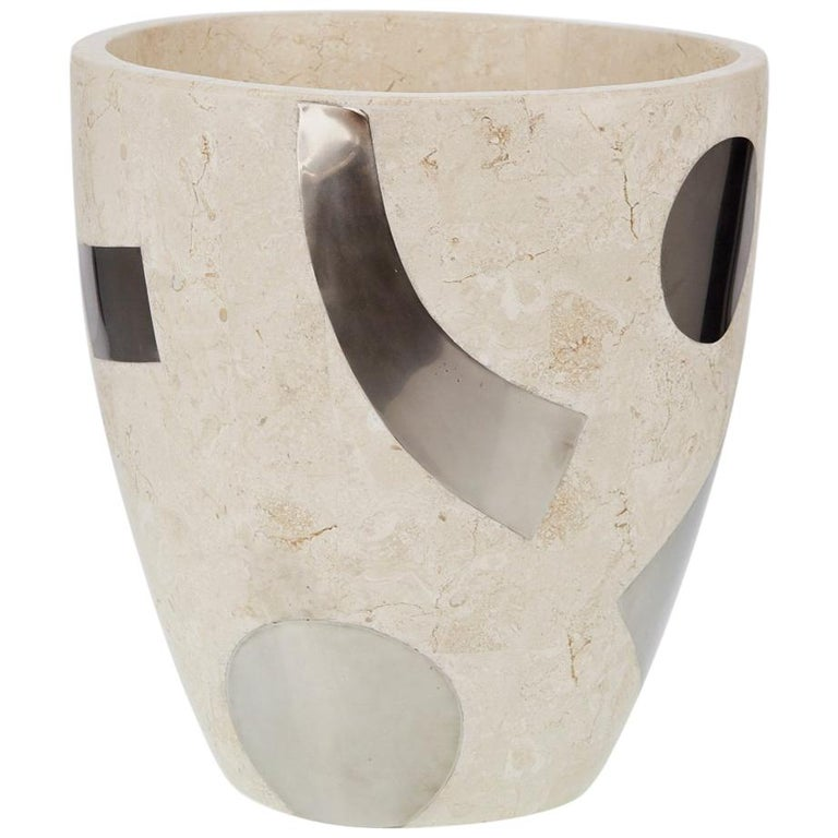 "Medium Postmodern Tessellated Stone ""Et Cetera"" Planter, 1990s For Sale"