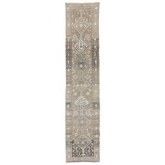 Earth Tone Antique Heriz Runner from Persia with Diamond Tribal Medallions