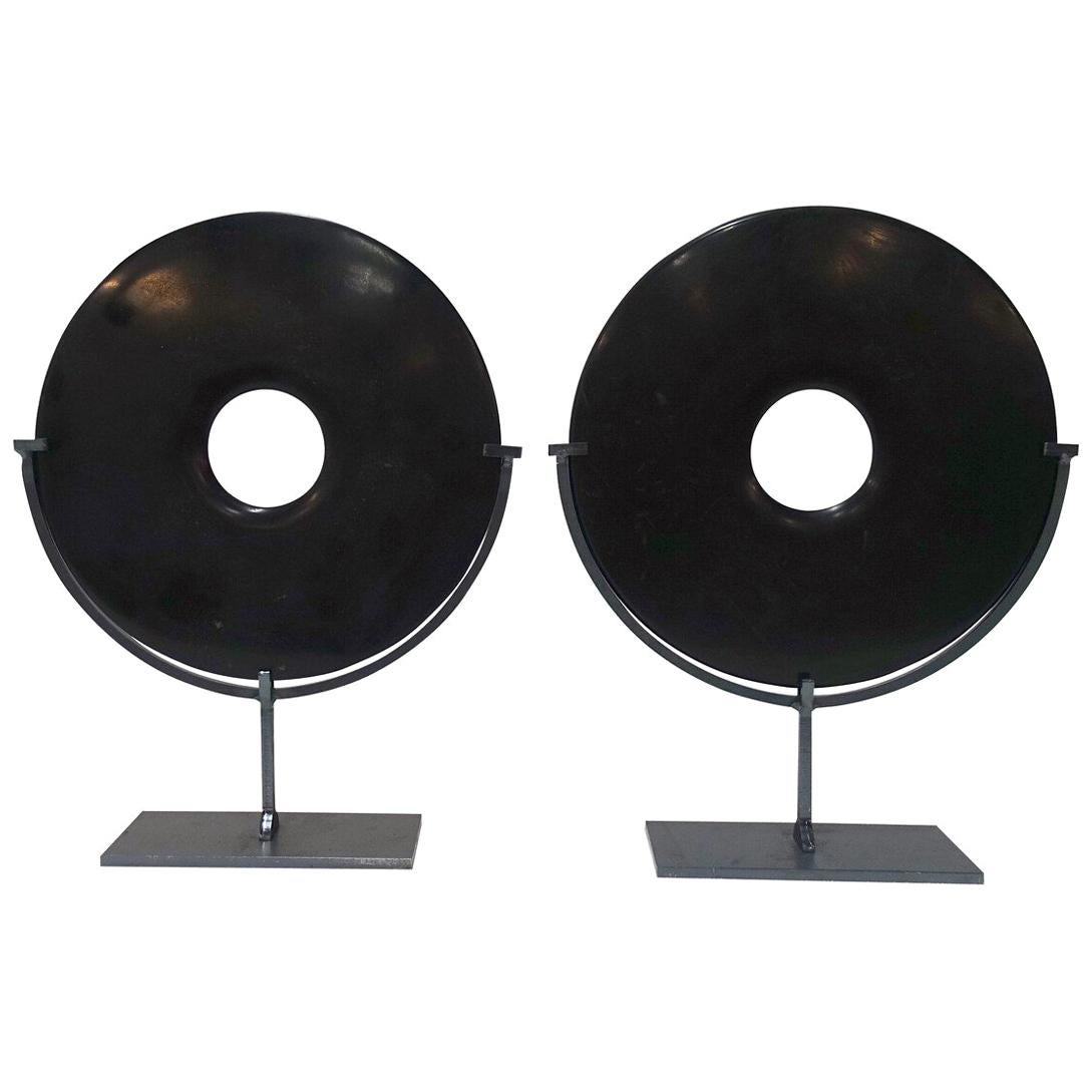 Pair of Smooth Black Stone Disc Sculptures, China, Contemporary