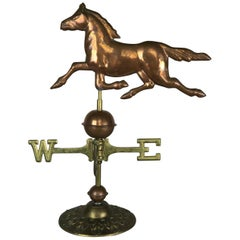 Dexter Style Copper Horse Weathervane on Brass Base