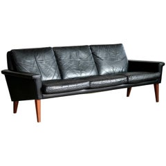 Folke Jansson Attributed Scandinavian Three-Seat Sofa in Black Leather and Teak