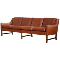 Four-Seat Sofa in Cognac Leather and Rosewood by Fredrik Kayser for Vatne Norway